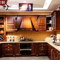[卓飞家居]卓飞定制 整体实木橱柜定做 美国红橡木厨房厨柜定制 实木多层板柜体开放式厨房装修橱柜订做